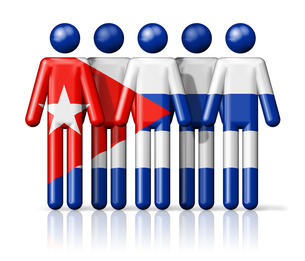 Flag of Cuba on stick figureの写真素材 [FYI00650071]