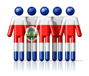Flag of Costa Rica on stick figureの写真素材 [FYI00650073]