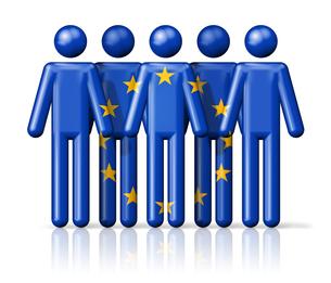 Flag of European union on stick figureの写真素材 [FYI00650074]