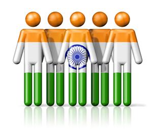 Flag of India on stick figureの写真素材 [FYI00650079]