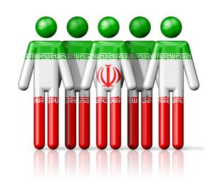 Flag of Iran on stick figureの写真素材 [FYI00650083]