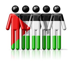Flag of Palestine on stick figureの写真素材 [FYI00650086]