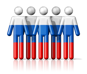 Flag of Russia on stick figureの写真素材 [FYI00650089]