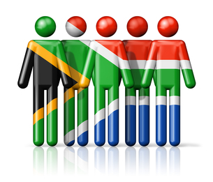 Flag of South Africa on stick figureの写真素材 [FYI00650090]