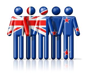 Flag of New Zealand on stick figureの写真素材 [FYI00650092]