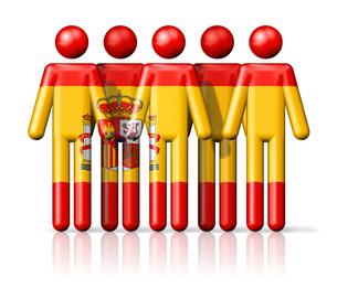 Flag of Spain on stick figureの写真素材 [FYI00650096]