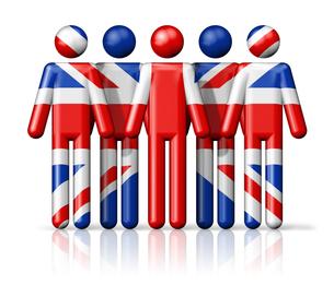 Flag of United Kingdom, UK on stick figureの写真素材 [FYI00650100]