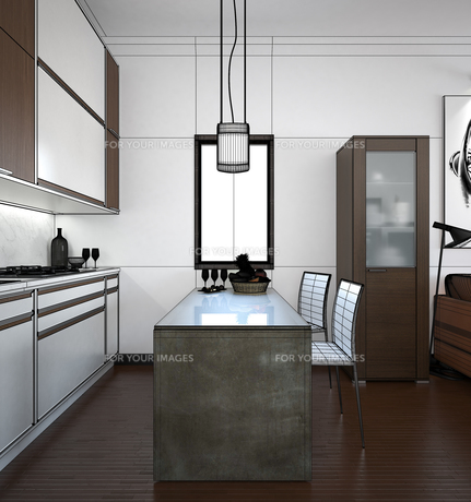 3D interior rendering of a small loft with texturesの素材 [FYI00650322]