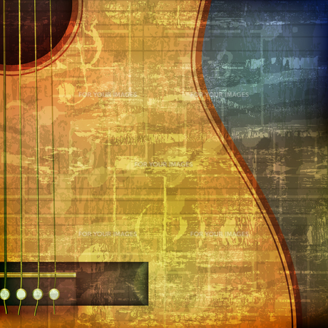 abstract grunge background with acoustic guitarの写真素材 [FYI00650339]
