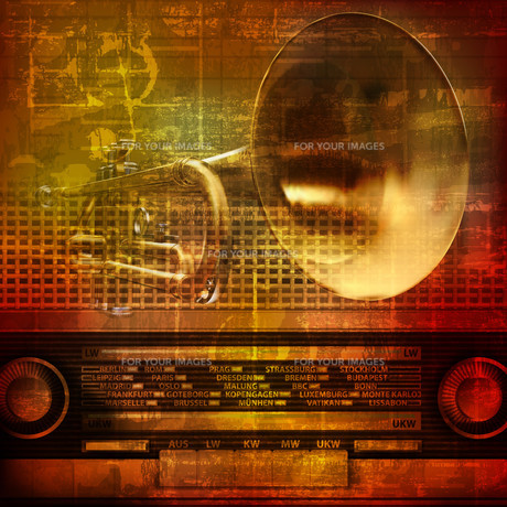 abstract grunge sound background with trumpetの写真素材 [FYI00650342]