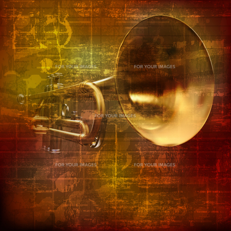 abstract grunge sound background with trumpetの写真素材 [FYI00650344]