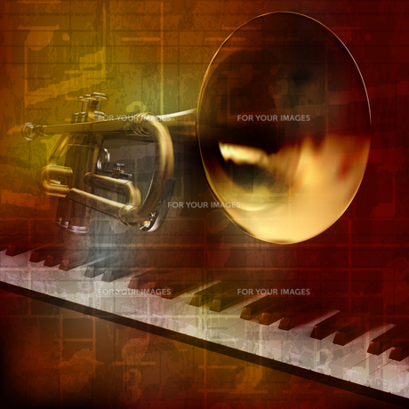 abstract grunge sound background with trumpet and pianoの写真素材 [FYI00650345]
