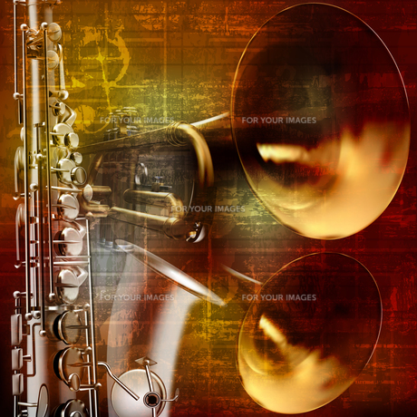 abstract grunge sound background with trumpets and saxophoneの写真素材 [FYI00650348]