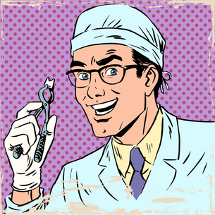 Funny dentist pulled out a tooth pop art retro comicの写真素材 [FYI00650355]