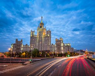 Kotelnicheskaya Embankment Building, One of the Moscow Seven Sisters in the Evening, Moscow, Russiaの写真素材 [FYI00650610]