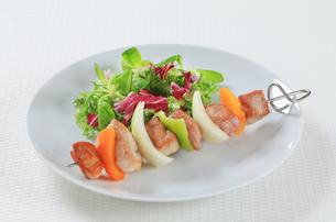 Shish kebab with spring saladの写真素材 [FYI00650711]