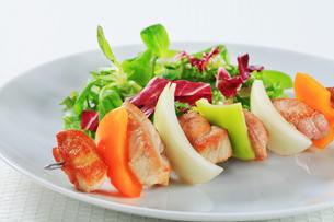 Shish kebab with spring saladの写真素材 [FYI00650742]