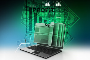 News through a laptop screen concept for online newsの写真素材 [FYI00650855]