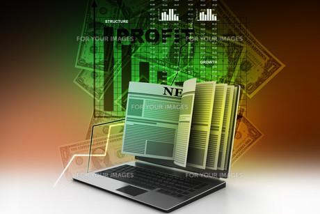News through a laptop screen concept for online newsの写真素材 [FYI00650856]