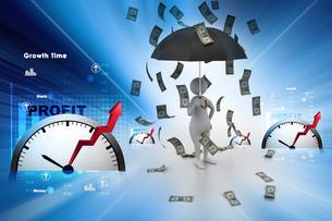 3d man and umbrella in money rainの写真素材 [FYI00650909]