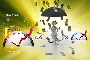 3d man and umbrella in money rainの写真素材 [FYI00650911]