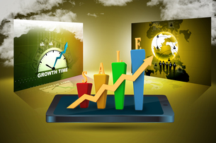 3D Bar chart and sales growthの写真素材 [FYI00650934]