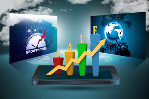 3D Bar chart and sales growthの写真素材 [FYI00650950]