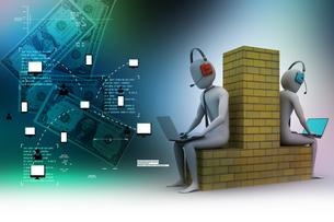 3d people working in laptopの写真素材 [FYI00651014]