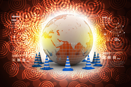 Globe and traffic coneの写真素材 [FYI00651019]