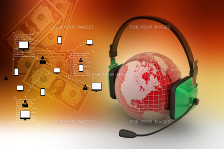 Headset with world globe. Concept for online chatの写真素材 [FYI00651120]
