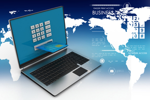 Laptop computer with a credit card, online payment conceptの写真素材 [FYI00651168]