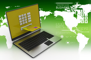 Laptop computer with a credit card, online payment conceptの写真素材 [FYI00651170]