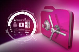 folder with safe lockの写真素材 [FYI00651180]