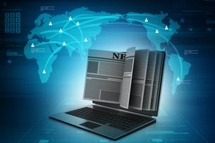 News through a laptop screen concept for online newsの写真素材 [FYI00651250]