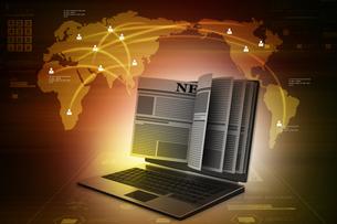 News through a laptop screen concept for online newsの写真素材 [FYI00651252]