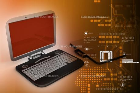 computer bag with laptopの素材 [FYI00651292]