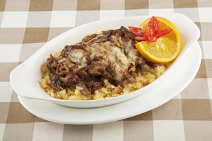 Beef and rice severed covered with a delicious sauceの写真素材 [FYI00651410]