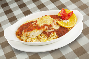 Fish and rice severed covered with a delicious sauceの写真素材 [FYI00651413]