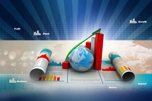 Business growth graph and  globeの写真素材 [FYI00651503]