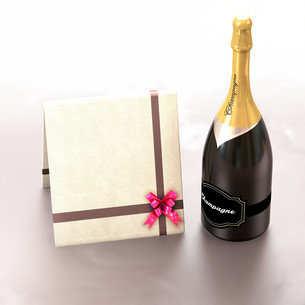 Greeting card with copy left and champagne.の写真素材 [FYI00651867]