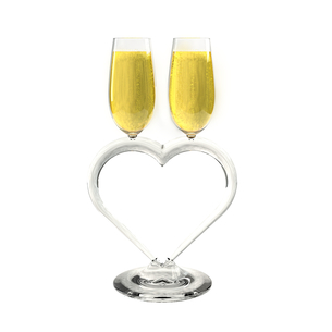 Two champagne glasses heart shapedの写真素材 [FYI00651873]