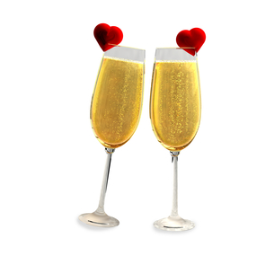 Two champagne glasses with two red heartsの写真素材 [FYI00651875]