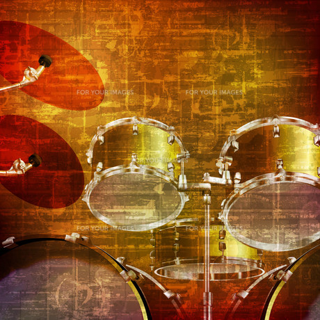 abstract grunge background with drum kitの写真素材 [FYI00652236]