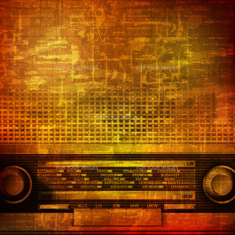 abstract grunge background with retro radioの写真素材 [FYI00652239]