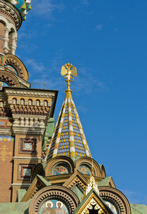 Decorated detail of   Church of the Savior on Spilled Blood in St.Petersburg, Russiaの写真素材 [FYI00652240]