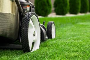 Lawn mower on green lawnの写真素材 [FYI00652381]