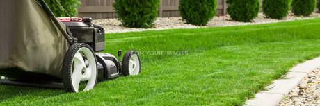 Lawn mower on green lawnの写真素材 [FYI00652383]