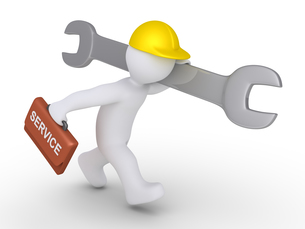 Worker is running to provide serviceの写真素材 [FYI00652459]