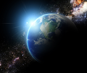 earth and sunbeam in galaxy space element finished by nasaの写真素材 [FYI00652628]