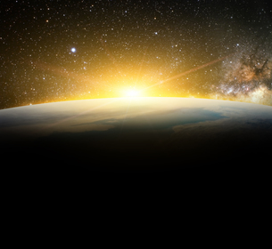 earth and sunlight in galaxy space element finished by nasaの写真素材 [FYI00652629]